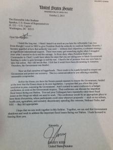 Reid to Boehner 2013